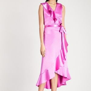 NWT🌟 MAJE Wrap Front Satin Midi Dress